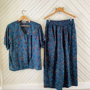 Vintage Leaf Print Matching Casual Outfit